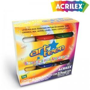 Tinta Fosca Acrilex Para Artesanato 37ml Pacote C/ 6 Cores