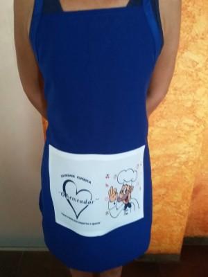 Avental Azul com bolso Branco