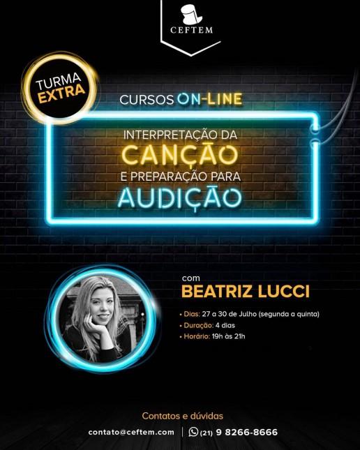 Ícone Notícia TURMA EXTRA do curso on-line de interpretação da canção, com Beatriz Lucci.