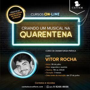 """Ícone Notícia Inscrições abertas para o curso on-line """"Criando um musical na quarenta – Curso de dramaturgia na prática"""", com Vitor Rocha"""