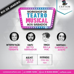 Ícone Notícia [RIO DE JANEIRO] Inscrições abertas para o Workshop de Teatro Musical aos sábados