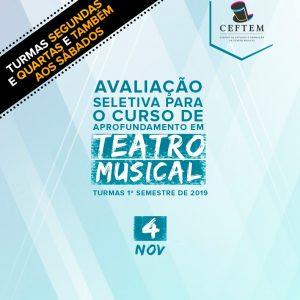 Ícone Notícia Dia 4 de novembro será a primeira avaliação do curso de Aprofundamento em Teatro Musical