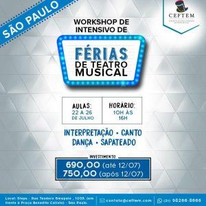 Ícone Notícia [SÃO PAULO] - Matrículas abertas para o Workshop intensivo de férias de Teatro Musical.