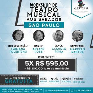 Ícone Notícia [São Paulo] Matrículas abertas para nosso Workshop de Teatro Musical aos sábados.