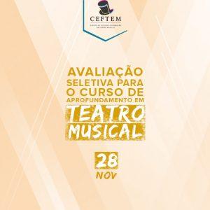 Ícone Notícia 28 de Novembro: avaliação seletiva para o curso de Aprofundamento em Teatro Musical.