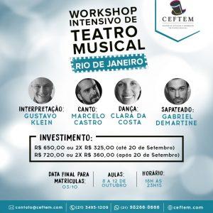 Ícone Notícia Inscrições abertas para o Workshop de Teatro Musical - Rio de Janeiro