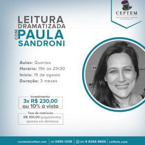 Ícone Notícia Curso de Leitura dramatizada com Paula Sandroni - Inscrições abertas