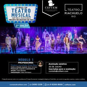 Ícone Notícia Inscrições abertas para o Curso de Teatro Musical CEFTEM & Riachuelo - Projeto Incubadora de Cias - 2ª edição.