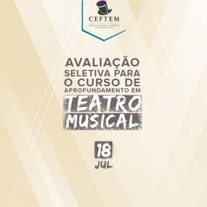 Ícone Notícia Dia 18 de julho teremos uma nova avaliação seletiva para o curso de aprofundamento em Teatro Musical