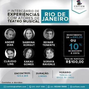 Ícone Notícia 1º Intercâmbio de experiências com atores de Teatro Musical - Rio de Janeiro