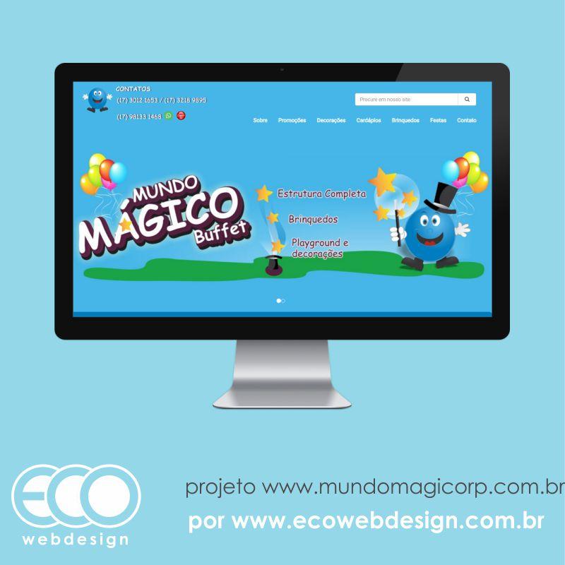 Imagem de Acesse <a href='http://www.mundomagicorp.com.br' target='_blank'>mundomagicorp.com.br</a> • Site com foco em divulgação de festa infantil e marca • Mundo Magico Buffet -  Buffet Infantil / aniversários