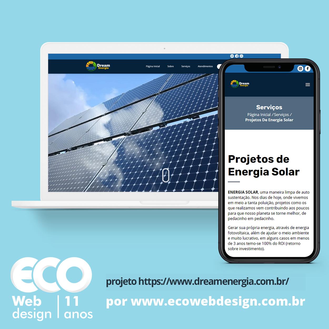 Imagem de Acesse <a href='https://www.dreamenergia.com.br'  target='_blank'>    https://www.dreamenergia.com.br  </a>  •  Site institucional para empresa especializada em energia solar residencial e industrial - Dream Energia
