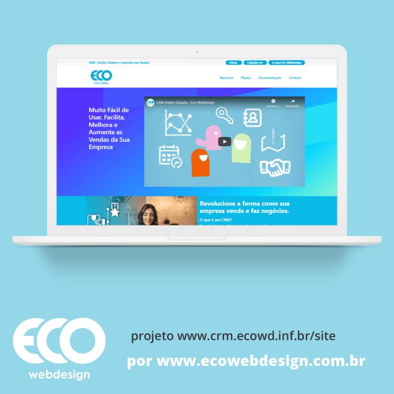 Imagem de Acesse <a href='https://www.crm.ecowd.inf.br/site' target='_blank'> https://www.crm.ecowd.inf.br/site</a> • Site para divulgação de ferramenta de gestão de contatos e vendas para empresas - CRM Online da Eco Webdesign