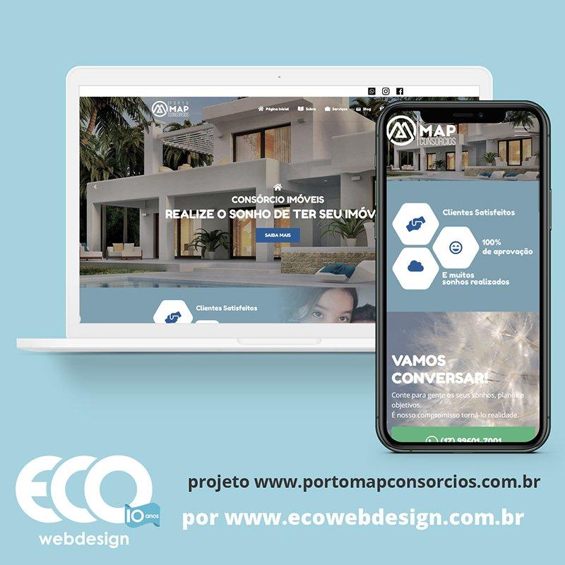 Imagem de Acesse <a href='https://www.portomapconsorcios.com.br/'  target='_blank'>   https://www.portomapconsorcios.com.br  </a> • Site institucional para empresa que oferece soluções no ramo de seguros e consórcios. - Porto Map Seguros