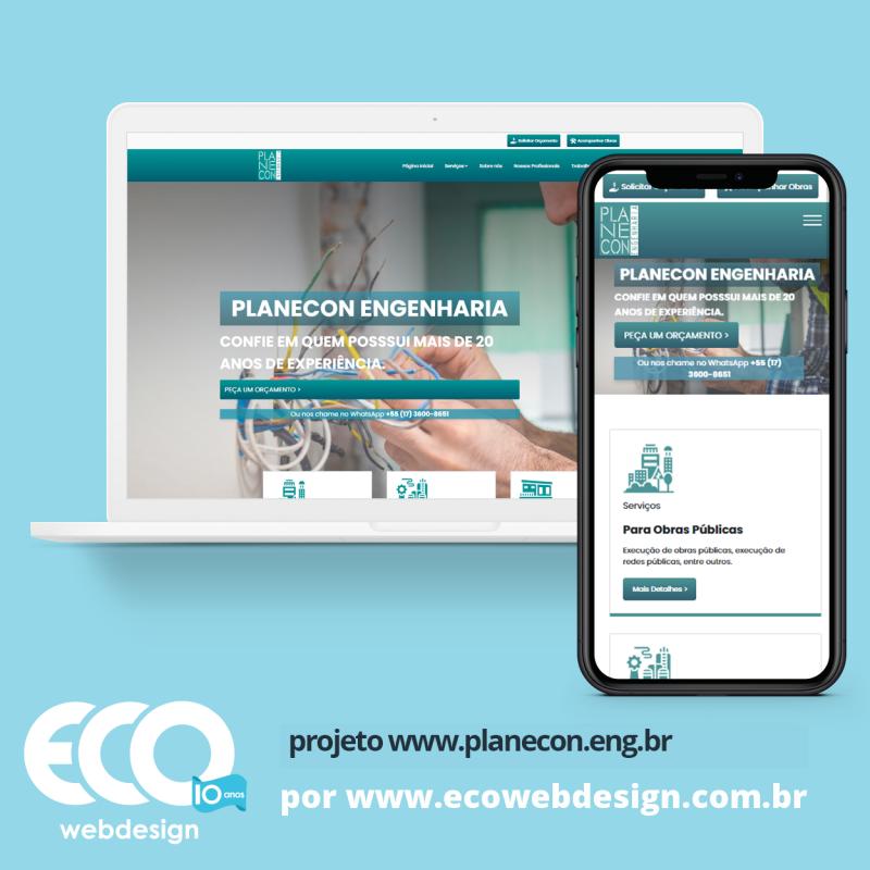 Imagem de Acesse <a href='http://www.planecon.eng.br/'  target='_blank'>   http://www.planecon.eng.br  </a> • Site institucional para empresa especializada em engenharia elétrica - Planecon Engenharia